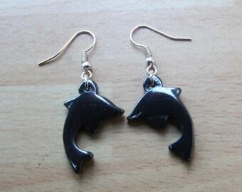 Earrings. Silver Hematite Dolphin earrings.