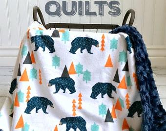 Bear Baby Blanket - Woodland Navy/Orange Bear - Designer Minky - Navy