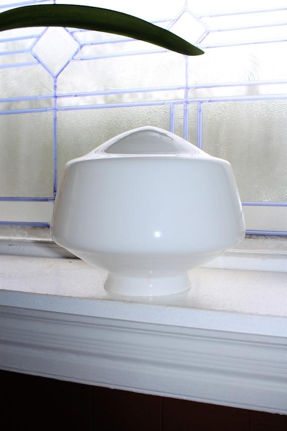 "Vintage Art Deco Milk Glass Schoolhouse Light Fixture Globe 8"" Shade"