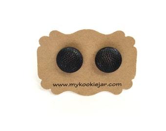 Solid Metallic Black Earrings Studs, Metallic Black Button Earrings, Lightweight, Girls Earrings, Handmade Earrings, Metallic Fabric