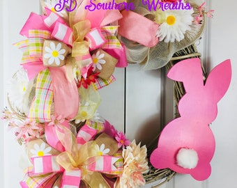 Easter Grapevine Wreath, Bunny Wreath, Pink and Cream Wreath, Spring Easter Wreath, Easter Wreath
