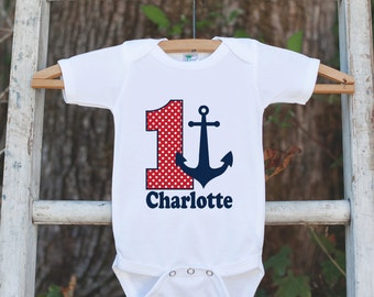 First Birthday Nautical Outfit - Personalized Bodysuit For Boy's 1st Birthday Party - Red and Navy Anchor Birthday Party Onepiece Shirt