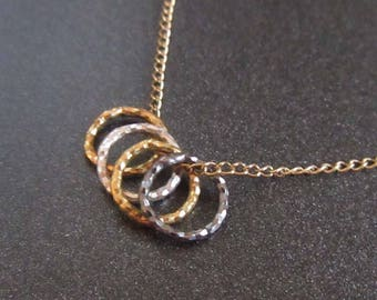 Gold Filled Four Ring Necklace, Minimalist Necklace, Gold Filled Vintage Jewelry