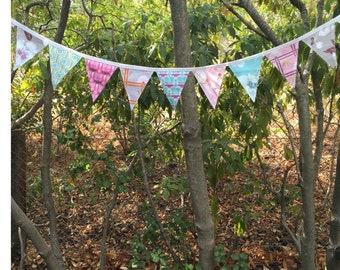 Flag Pennant Banner Bunting Baby Nursery Birthday Bridal Reversible 2 Sided Outdoor or Indoor 9 Foot Pastel Flags
