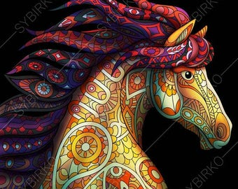 Coloring Pages for adults. Mustang Horse. Wildlife colouring page. Animal coloring book. Instant Download Print