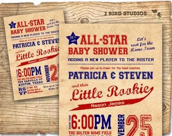 Baseball baby shower invitation - baseball boy baby shower  invite- DIY baseball couples shower sports printable decorations