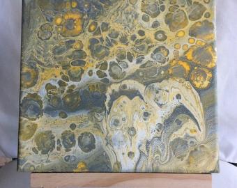 Original fluid poured art on canvas