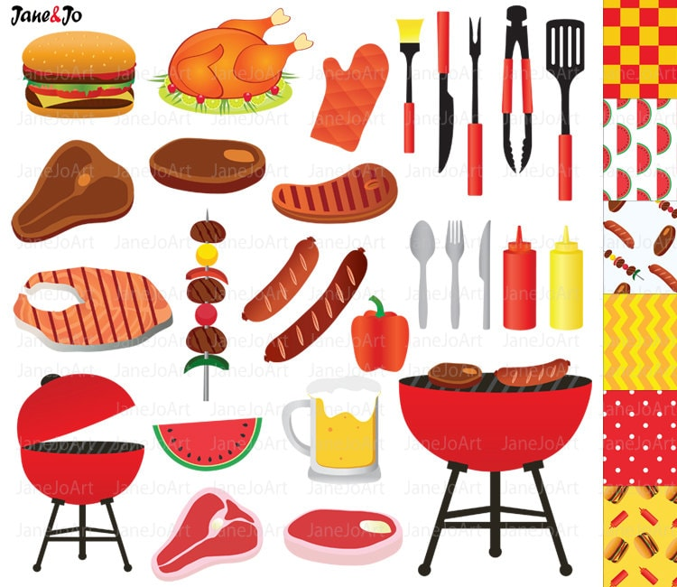 bbq clipart barbeque clipart summer clipart grill party food rh etsystudio com free barbecue clipart barbecue clipart free