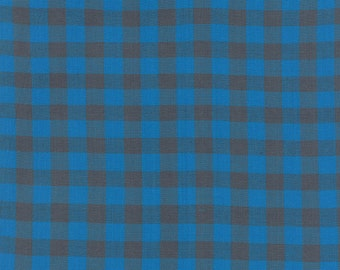 "Dapper Wovens Brushed Cotton Fabric, Check Check is in the Mail in Dark Blue, Luke, Moda Fabrics, End of the Bolt, 31"", 12250 16"