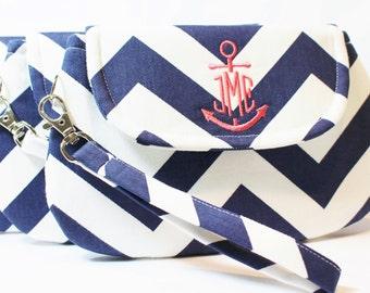 Bridesmaid Set -Chevron Anchor Monogram Wristlet - Wedding Clutch - Bridesmaid Clutch - Nautical Wedding