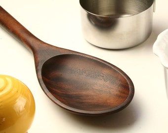Big manly wooden spoon kitchen utensil carved from Walnut wood
