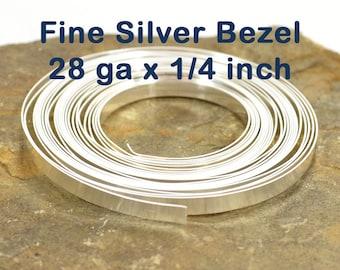 "28ga x 1/4"" Plain Bezel - Fine Silver - Choose Your Length"