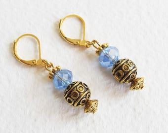 Boucles d'Oreilles Romantique Victorien - Tess d'Uberville - Perles Cristal Swarovski, métal or vieilli - Bijou créateur, pièce unique