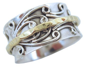 "Energy Stone ""RADHA""  Meditation Spinner Ring with Brass Spinner on 3D Floral Pattern Sterling Silver Base Ring (Style# US05/USA05 /798)"