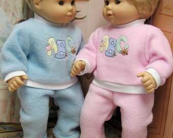 Pink OR  Blue ABC Playsuits for Bitty Baby Girl or Boy or Twins