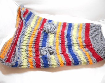 Dog Sweater with grey and rainbow stripes for a small dog - hand knit