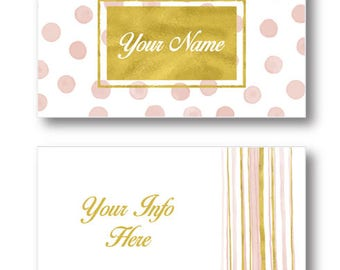 Pre Made Business Card Pink Gold Dots and Stripes 2 Sided Printable Instant Download Personalized Business Card Template