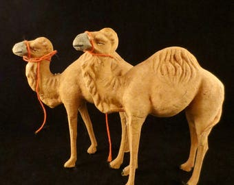 RESERVED Pair of Antique German Stick Leg Flocked Nativity Creche Camels