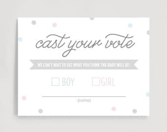 Gender Reveal Voting Cards, Cast Your Vote, Gender Reveal Party Games, Baby Shower Games, Boy or Girl, PDF Instant Download #BPB215_7