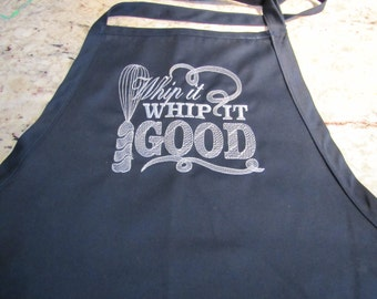 Whip It Good Embroidered Full Length Apron with 3 Pockets adjustable at the neck