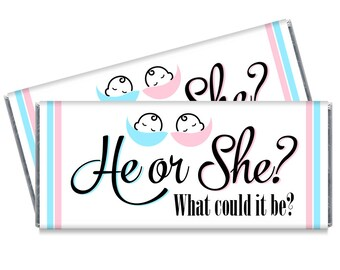 He or She Gender Reveal Baby Shower Candy Bar Wrappers - Gender Reveal Favors - Set of 12 - #IDGBS411