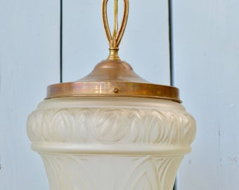 Gorgeous Antique Handblown French Glass Shade Pendant Chandelier From Early  Ship, Antique Lighting, OOAK