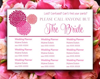 Chrysanthemum Please Call Anyone But the Bride | Fuchsia Hot Pink | Microsoft Word Wedding Insert Information Card Template Contact Card