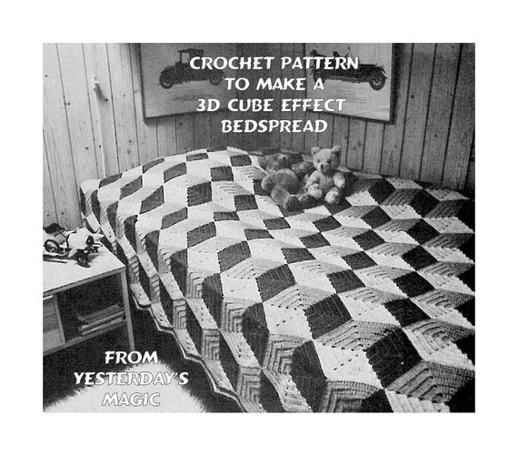 Instant download pdf crochet pattern to make a 3d geometric instant download pdf crochet pattern to make a 3d geometric abstract tumbling blocks cube illusion bedspread blanket afghan sofa throw rug dt1010fo