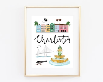 Illustrated Charleston, South Carolina Art Print
