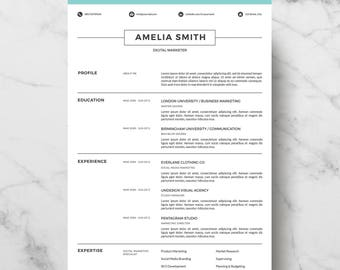 Professional Resume Template | Resume Template for Word | Creative Resume Design | CV Template for Word | Instant Download | Easy Edit