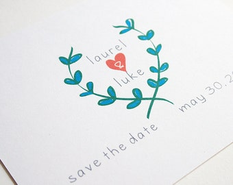 Wedding Save the Date -- The Laurel -- Customizable Set -- CHOOSE YOUR QUANTITY