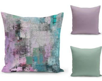Pillow Covers, Purple Teal Green Black , Home Decor, Accent Throw Pillow Cover, Decorative Pillow Covers