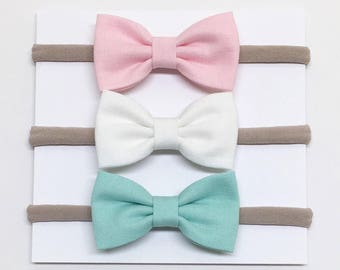Nylon Baby Headband - Pink, White, Aqua - Baby Headband - Clips or headbands