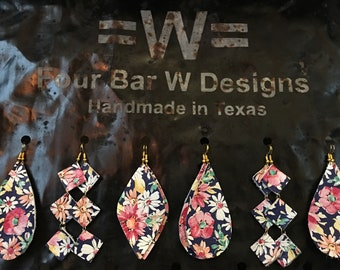Leather Floral Print Earrings