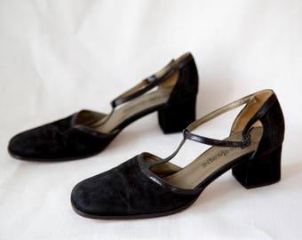 Yves Saint Laurent T-Strap Suede Heels - Size 9