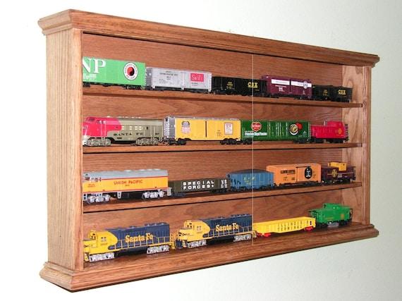 Model Train Racks : Ho train display case cabinet four shelf oak for your model
