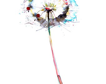 Watercolor Dandelion wall art print wall Home decor living room decor painting Watercolor flower print gift for her Colorful Watercolour art