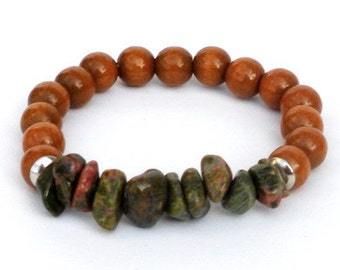 Brown mens bracelet, mid brown wooden beads, semi-precious stones Unakite. Handcrafted elastic wristband, boho wristlet, gemstone wood cuff