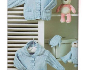 Baby Jackets scarf and mittens  vintage knitting pattern -Immediate download