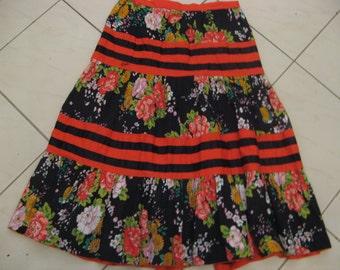 Vintage 70s 80s Cotton FACES Long Tiered Black Floral Skirt Sz Aus 10 US 6 S M