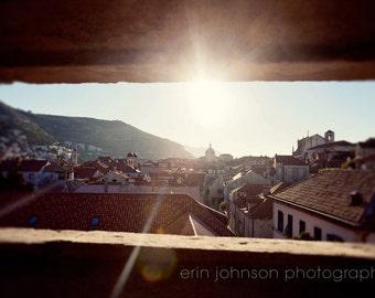 dubrovnik croatia, landscape photography, travel, blue decor, blue wall art, adriatic sea, architecture, Morning Sun D22