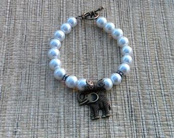 White Glass Pearls Elephant Charm Bracelet, Elephant Bracelet, Charm Bracelet, Beaded Bracelet, Bronze Elephant Charm Bracelet