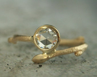 Twig Engagement Ring 14K Yellow Gold Moissanite Ring 6mm Rose Cut Moissanite Engagement Ring Gold Branch Ring Cast Twig Ring One of a Kind