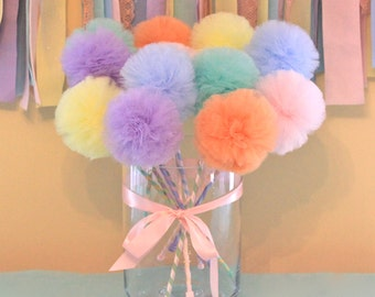 Tulle Pom Pom wands, PREMIUM Pastel Rainbow Wands Fairy Princess Wands, Princess Wand, Party Favors, Party Centerpiece, 6 Pc Set