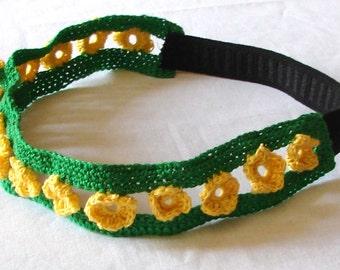 Crochet Green and Yellow Floral Headband