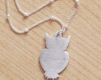 Fine Silver Owl Necklace. Precious Metal Clay. PMC. Owl Necklace. Fine Silver Necklace. Precious Metal Clay Necklace.