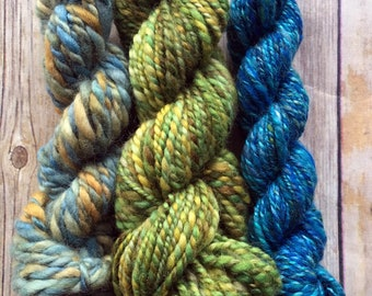 Handspun Yarn Mini Skein Trio - BFL Wool & Mixed Fibers