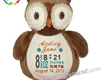 Personalized Stuffed Owl