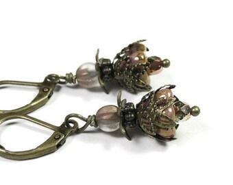 Vintage Style Flower Earrings, Czech Glass, Antiqued Brass, Petite Dangle Earrings, Feminine Jewelry, Gifts for Her, Womens Accessories