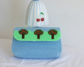 blue clutch purse, summer day small bag, light blue chartreuse green clutch, small fold over clutch, colorful and cute mini clutch